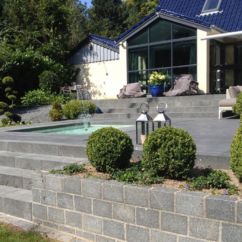 Granit Fliser Sortgrå Brændt & Børstet Ude 50×50 Cm 30 Mm